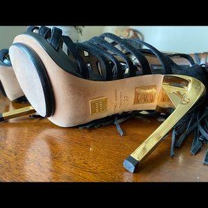 Herve Leger Fabia Black & Gold Sandals